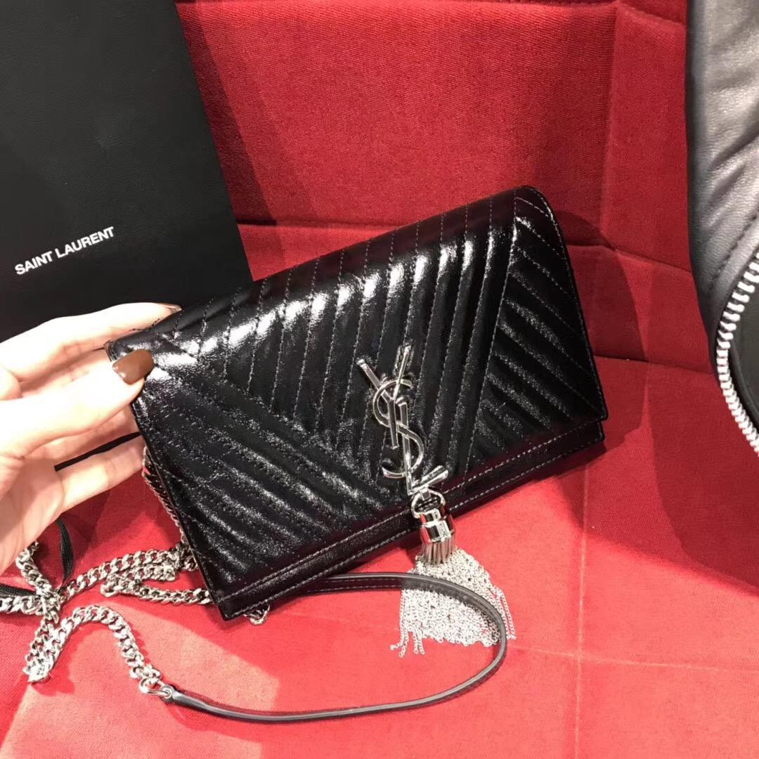 Saint Laurent KATE黑色條紋真皮鏈條流蘇錢包 MONOGRAM SAINT LAURENT