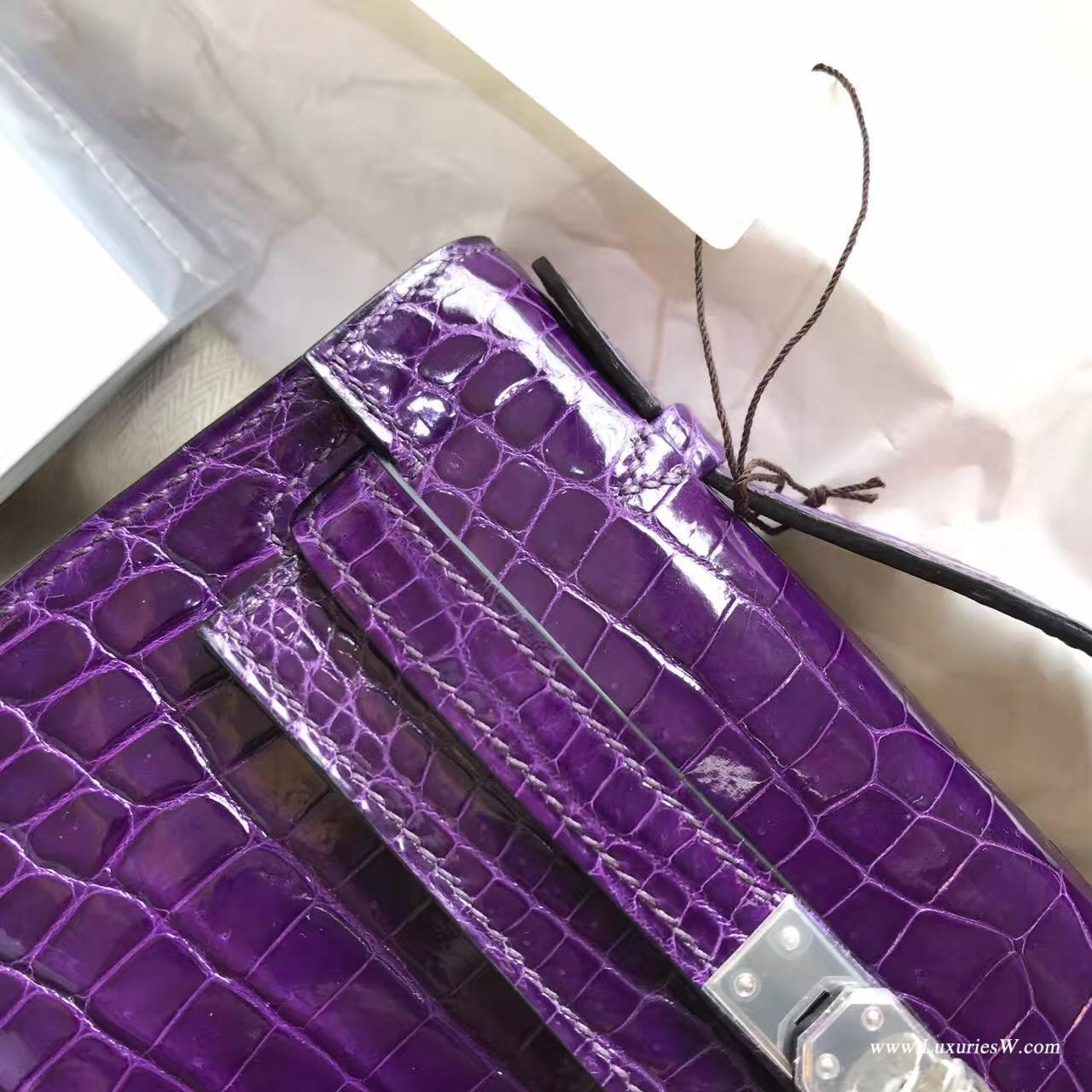 愛馬仕Hermes Mini Kelly 鱷魚皮宴會手包 9W Crocus夢幻紫色銀扣