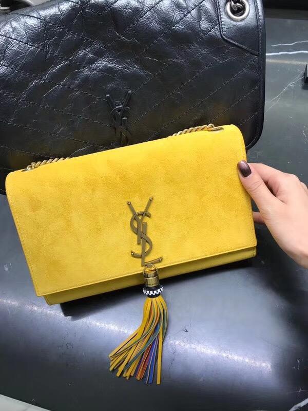YSL經典中號 monogramSAINT LAURENT單肩包 黃色鹿絨皮
