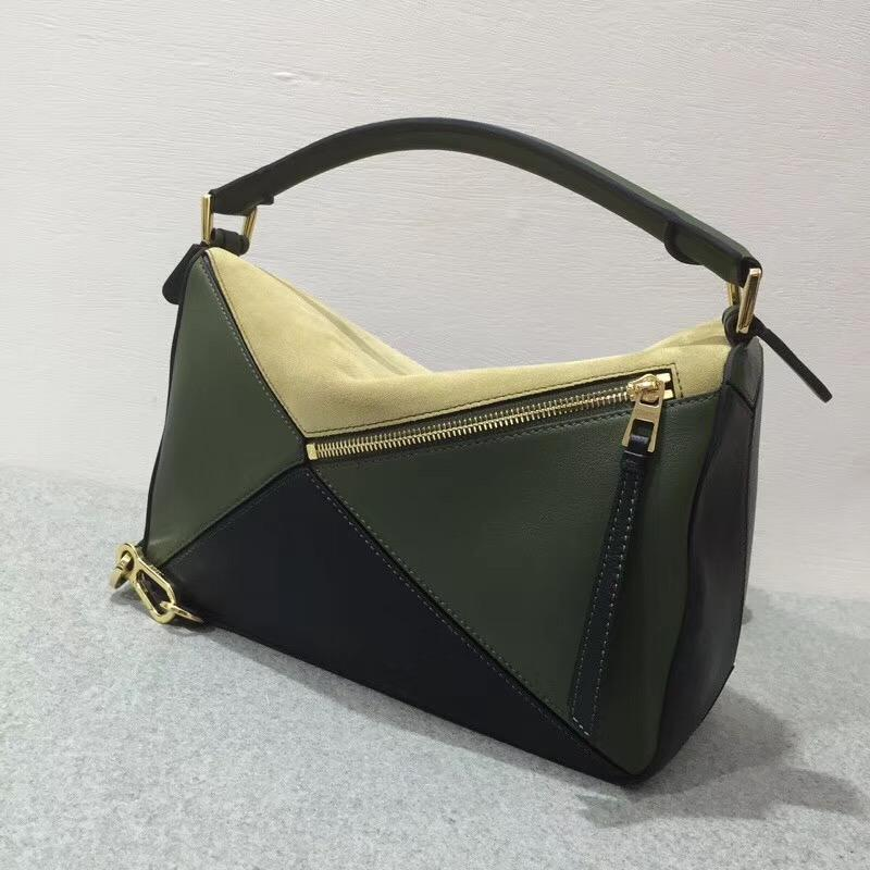 Loewe羅意威 Puzzle Bag Gold/Military Green/Black