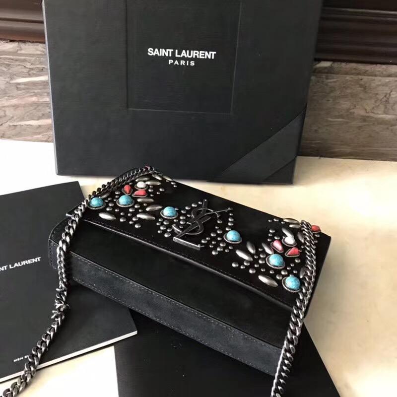 聖羅蘭YSL包包 monogram-kate手袋 berber黑色麂皮零錢袋 配彩色珠片