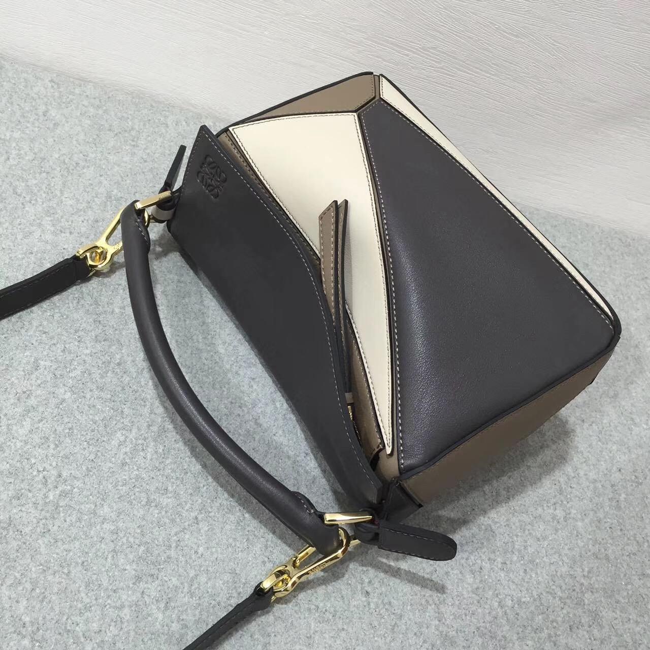 Loewe羅意威 几何包小号 Puzzle Small Bag Dark Taupe Multitone