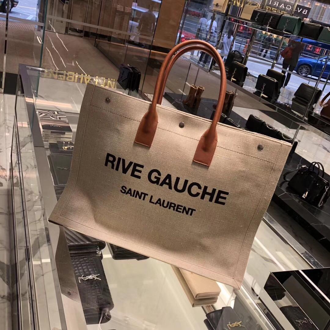 ysl包包 rive-gauche米色亞麻和幹邑色真皮手提袋 OE SAINT LAURENT