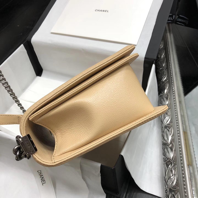 Chane.中號Large Le boy bag handbag 28cm 口蓋包 杏色魚子醬