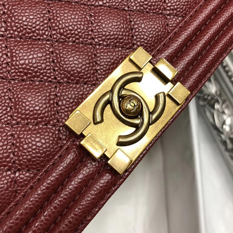 Chane.中號Large Le boy bag handbag 28cm 口蓋包 酒红色魚子醬