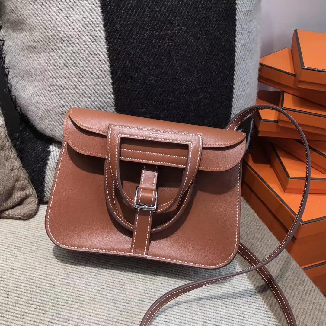 Hermes Halzan mini bag入門款肩背包Swift calfskin 4G grizzly 焦糖色