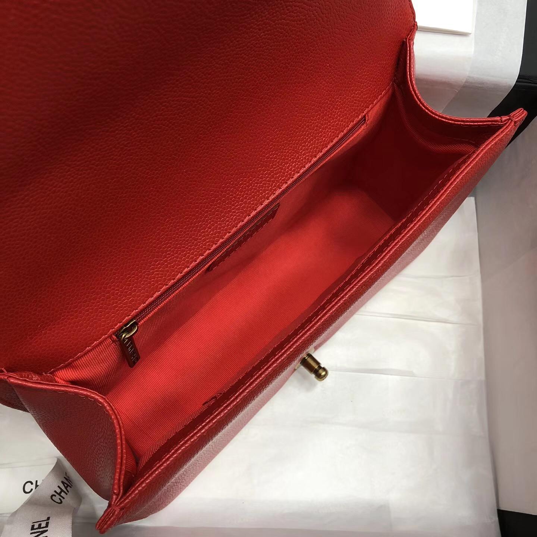 Chane.中號Large Le boy bag 28cm handbag口蓋包 红色魚子醬