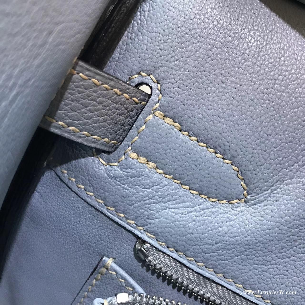 愛馬仕鉑金包Hermes Birkin 30 togo J7 BlueLin 亞麻藍 銀扣