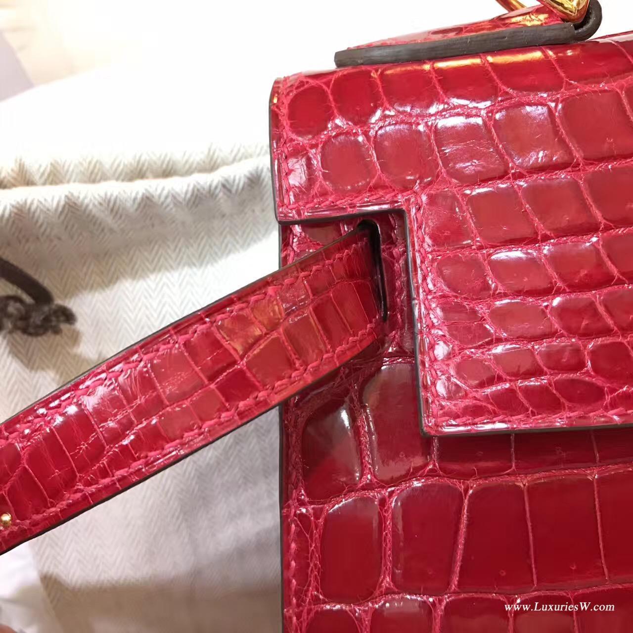 愛馬仕最早的包袋Hermes Kelly 28光面鱷魚 Q5 Rouge Cossacks中國紅金扣