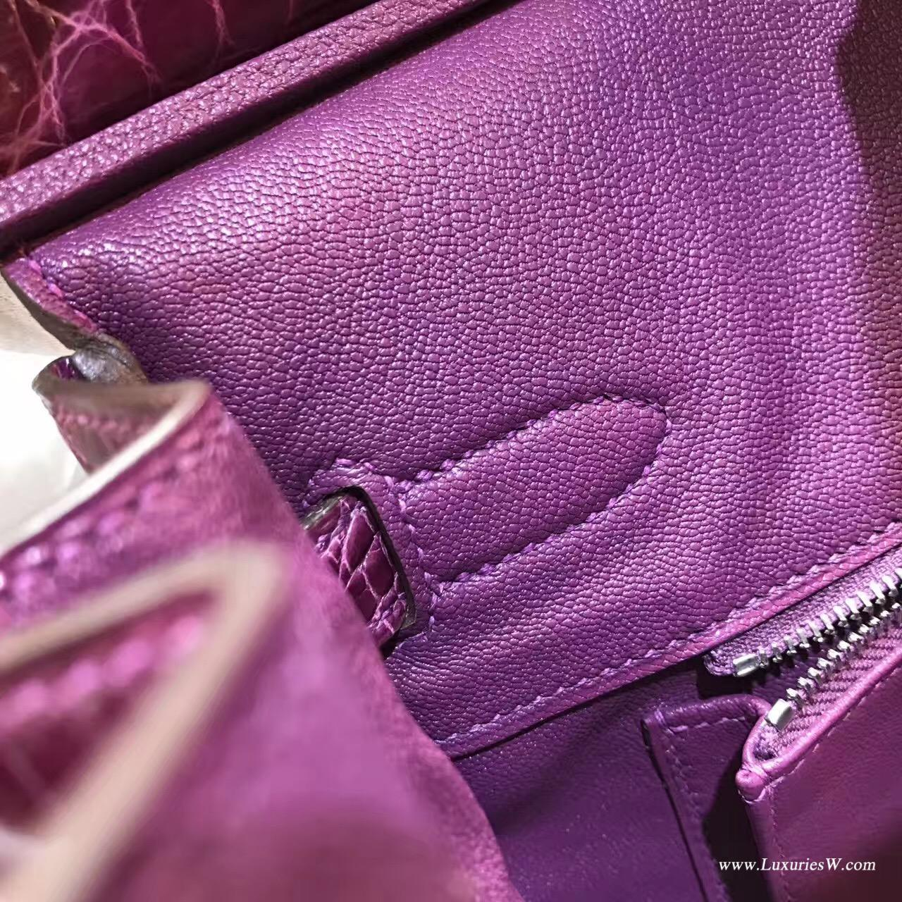 愛馬仕Hermes 鉑金包Birkin 30 鱷魚光面 P9 Anemone高冷紫色銀扣