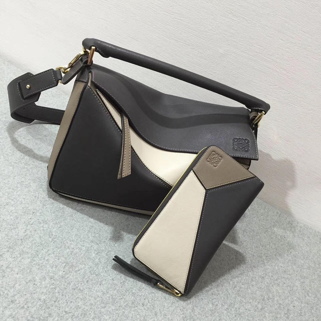 Loewe羅意威 几何包 Puzzle Bag Dark Taupe Multitone