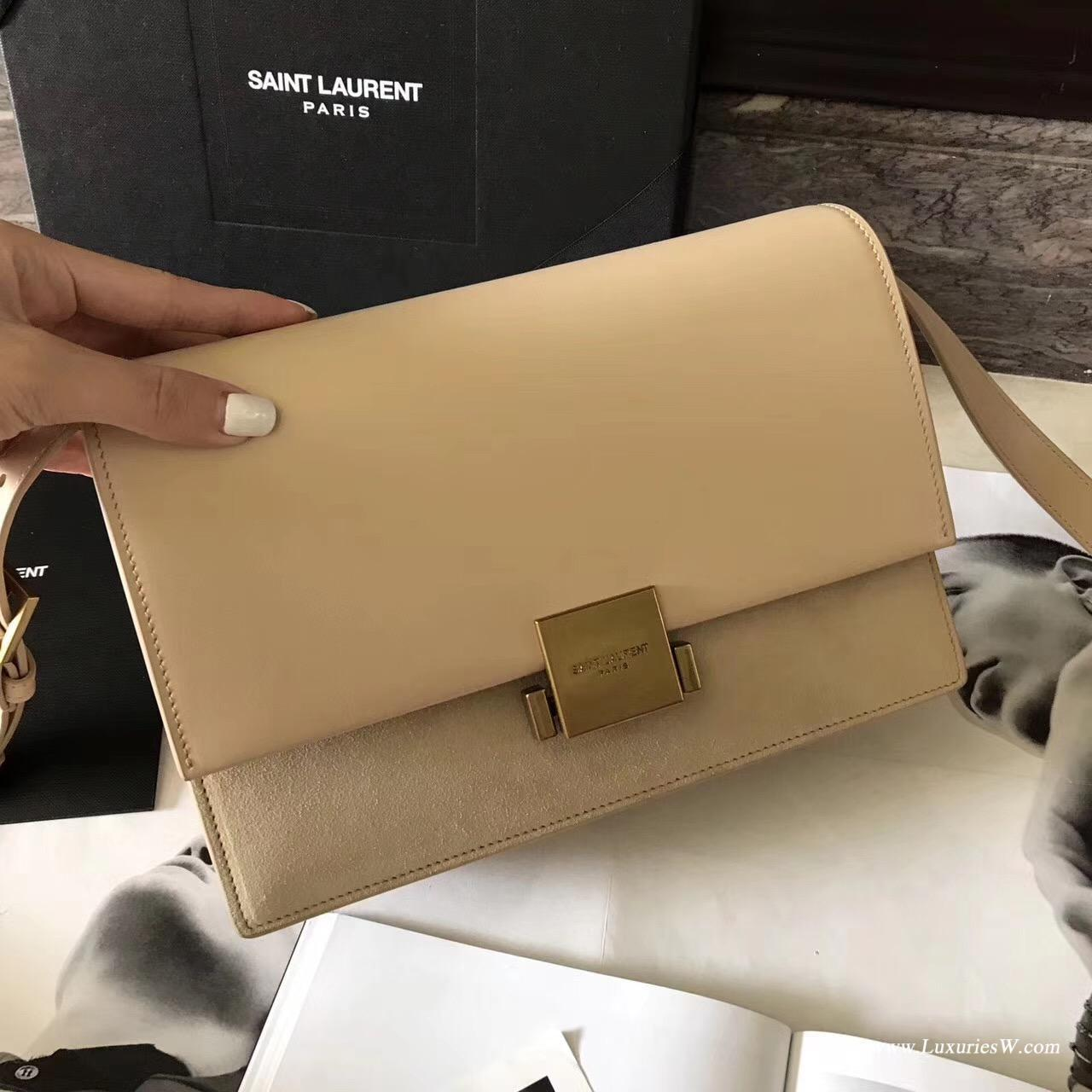 Medium BELLECHASSE SAINT LAURENT bag in black leather and taupe suede