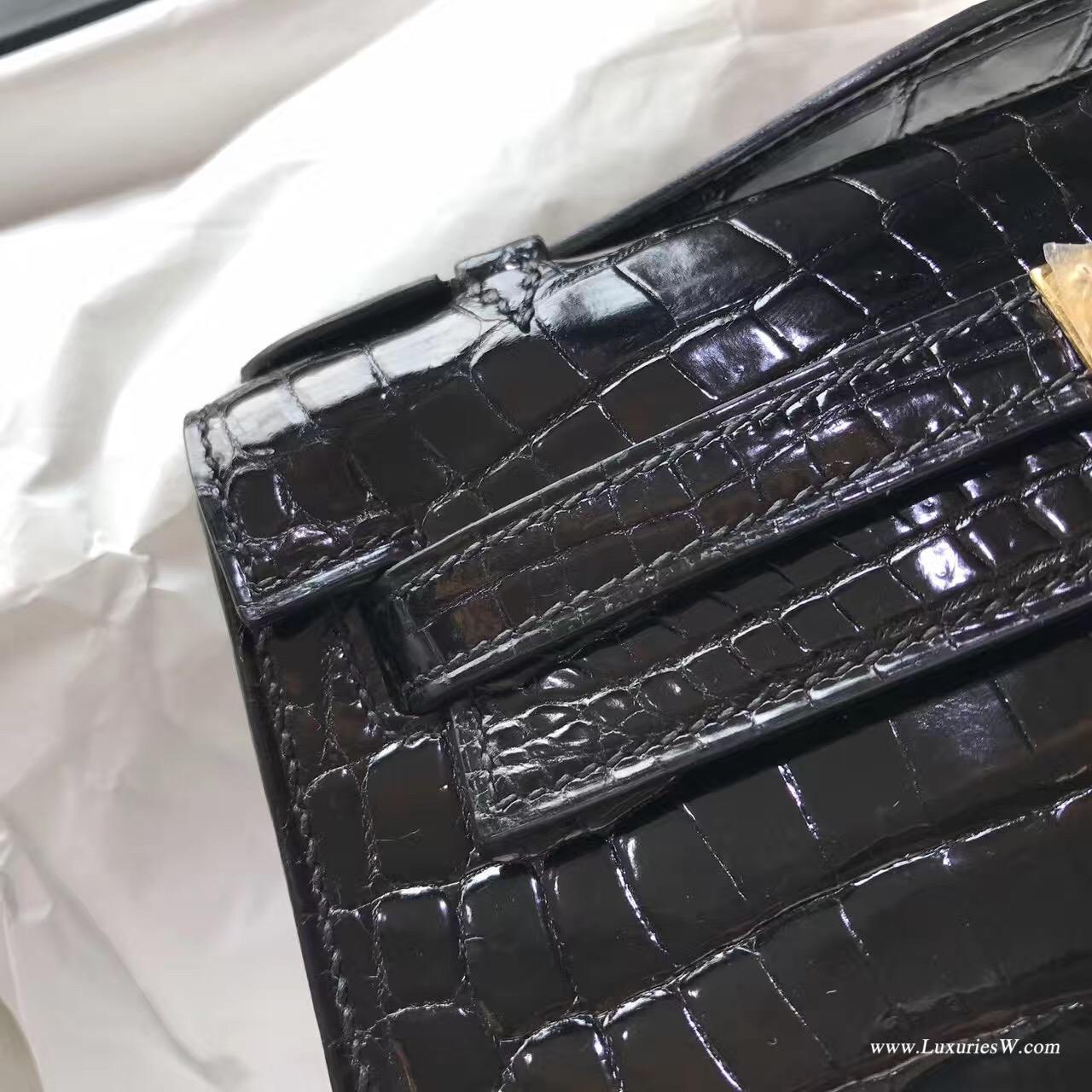 愛馬仕Hermes Mini Kelly 鱷魚CK89 Nior黑色光面鱷魚皮 金扣