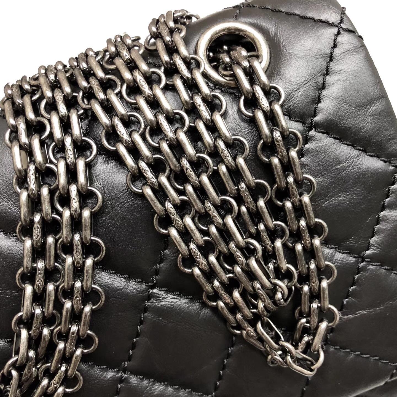 Chane. 28cm 中號Large 2.55 handbag口蓋包復古小牛皮黑與酒紅