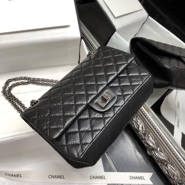 Chane.復刻版小號口蓋包 25cm Large 2.55 handbag 黑色原廠牛皮銀色鏈條
