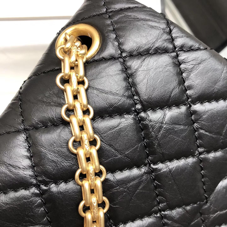 Chane.復刻版小號口蓋包25cm Large 2.55 handbag 黑色復古原廠牛皮與