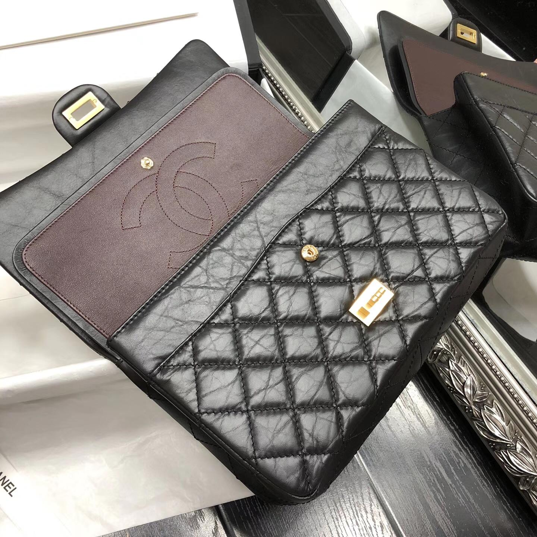 Chane.28cm中號Large 2.55 handbag口蓋包復古小牛皮金扣黑與酒紅