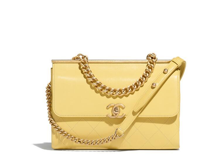 2018春夏系列香奈兒 口蓋包Flap bag 羊皮革與金色金屬 黄色