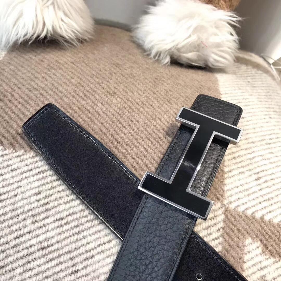 愛馬仕Hermes皮帶H扣 togo荔枝紋黑色腰帶 75~115歐碼