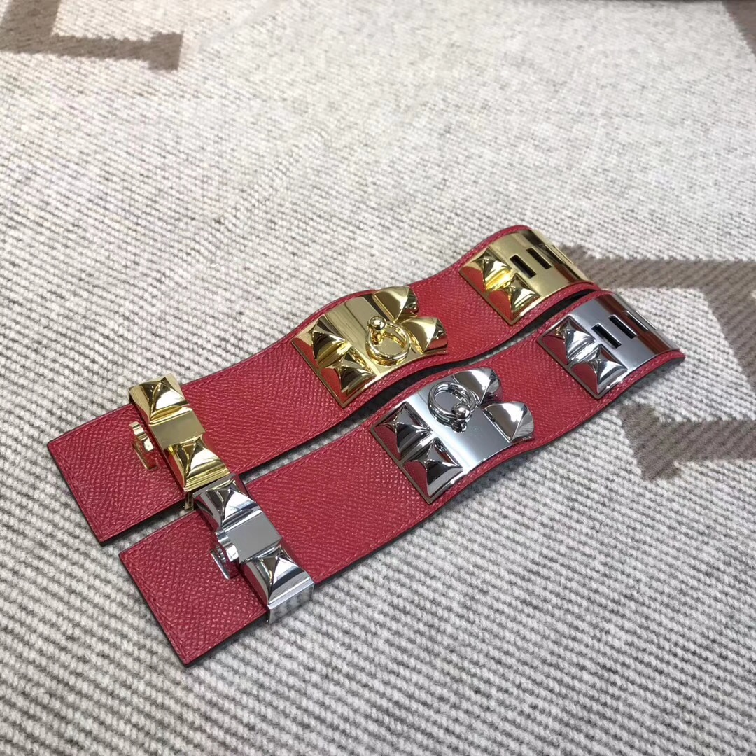 Hermes朋克風kelly寬款手鐲 鉚釘CDC Epsom皮 Q5 Rouge Cossacks中國紅
