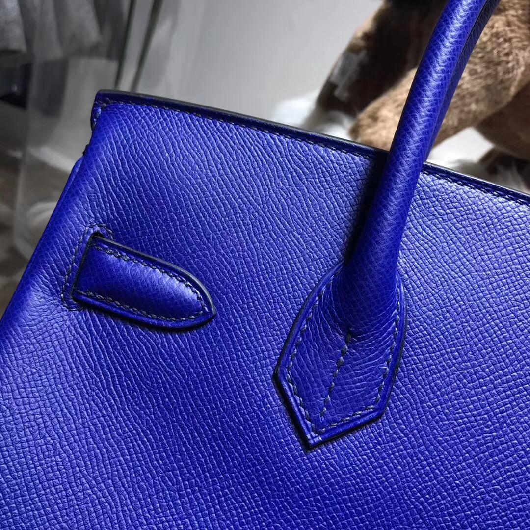 hermes 鉑金包Birkin包 30CM epsom 银扣 电光蓝 7t blue electric