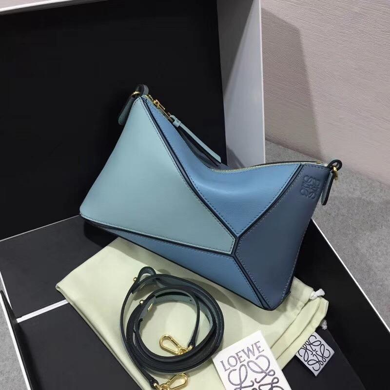 LOEWE罗意威 Puzzle Pochette Bag Stone Blue Multitone迷妳拼色單肩小包