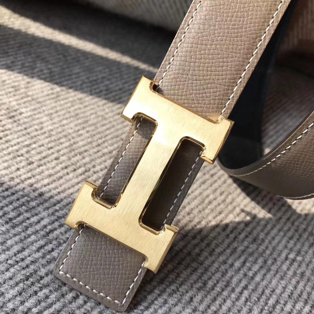 Hermes腰帶belt epsom雙面皮帶大象灰配色黑色 75~115歐碼