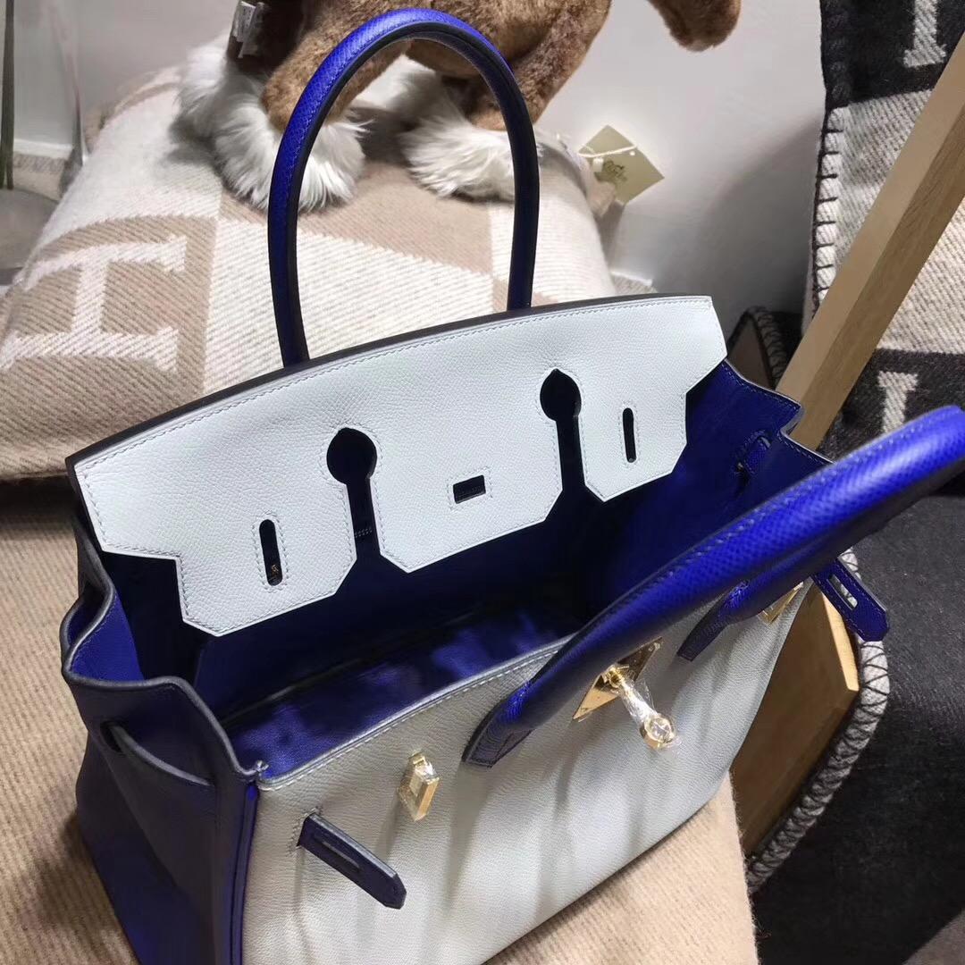 鉑金包Birkin包 30CM 4z gris mouette 海鸥灰配电光蓝 7t blue electric epsom