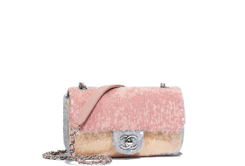 2018春夏系列香奈兒 Flap bag 口蓋包 亮片 粉紅米色與灰色