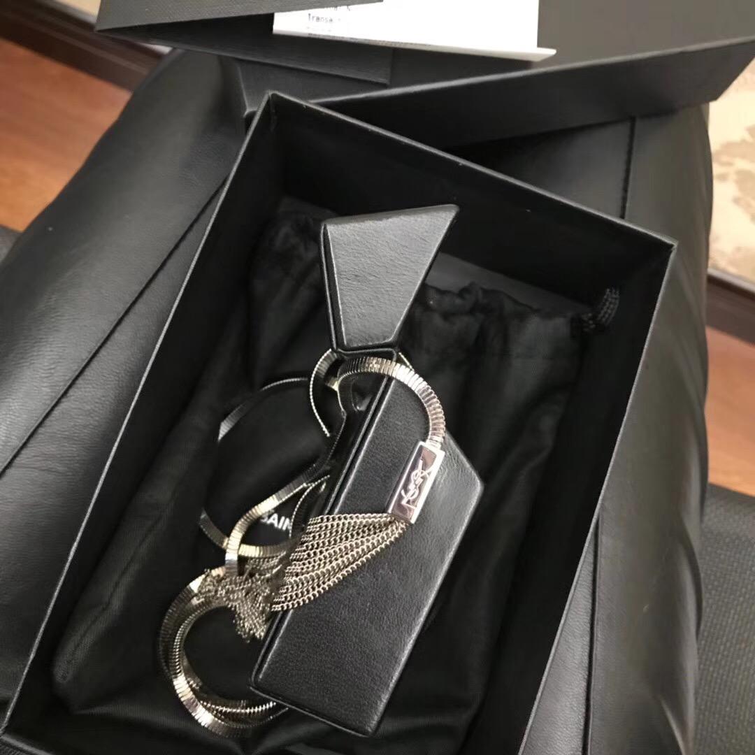 YSL Mini bags box MINAUDIERE黑色真皮翻蓋小方包