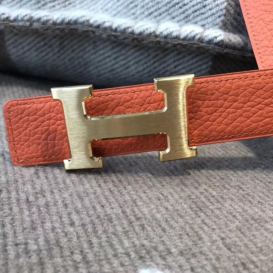 Hermes皮帶H扣 togo荔枝紋經典橙色腰帶75~115歐碼