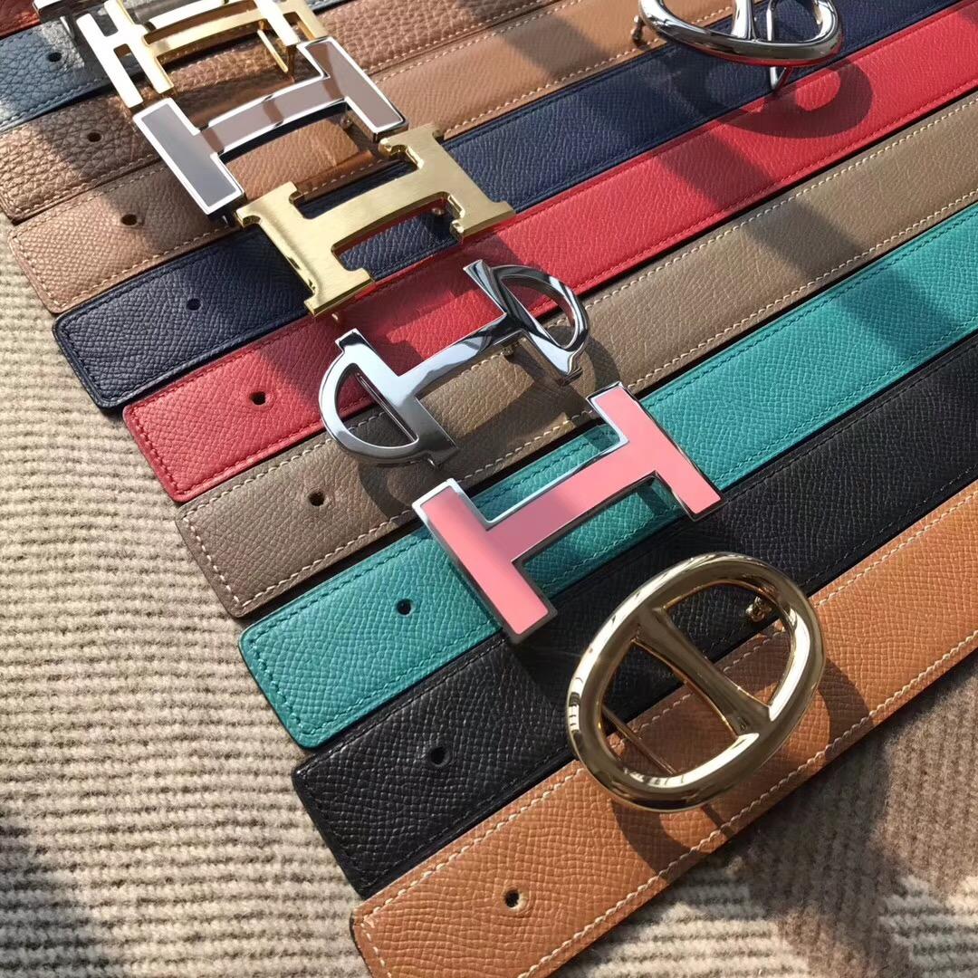 Hermes皮帶H扣 belt epsom金棕色/火焰橙腰帶75~115歐碼