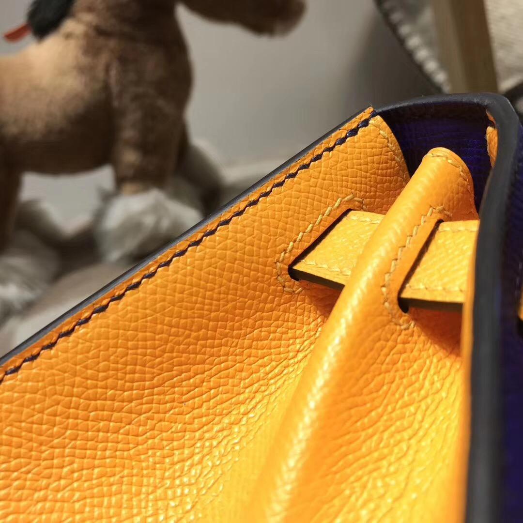 Hermes kelly 28 epsom 外封7T Blue Electric電光藍/9V JAUNE D'OR 太陽金黃金扣