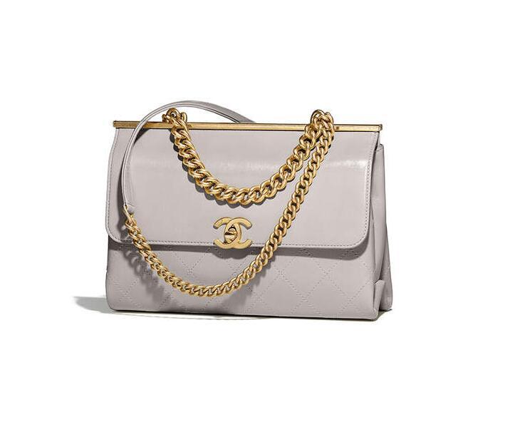 香奈兒 2018春夏系列口蓋包Flap bag 羊皮革與金色金屬 灰色