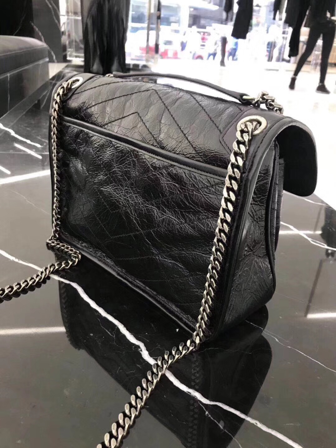 YSL Niki bags medium niki chain bag in crinkled and quilted black leather