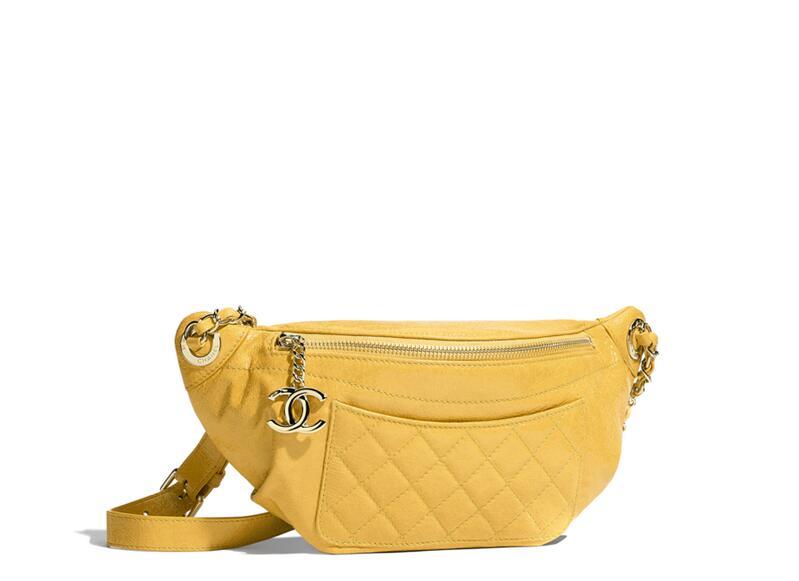 2018春夏系列皱紋小羊皮與金色金屬-黃色yellow 腰包 Waist bag