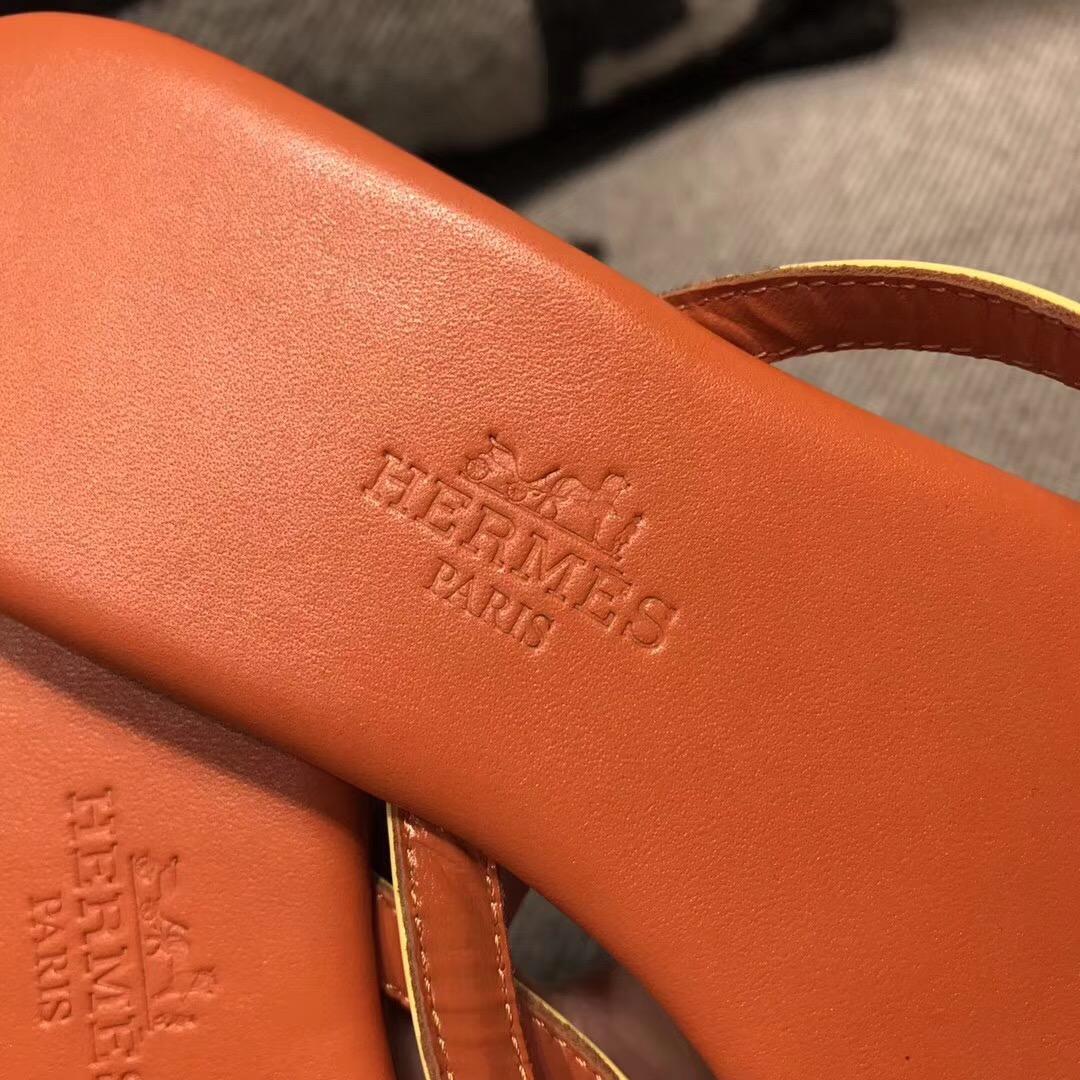 愛馬仕Hermes 橙色配色拖鞋進口皮 35~39尺碼