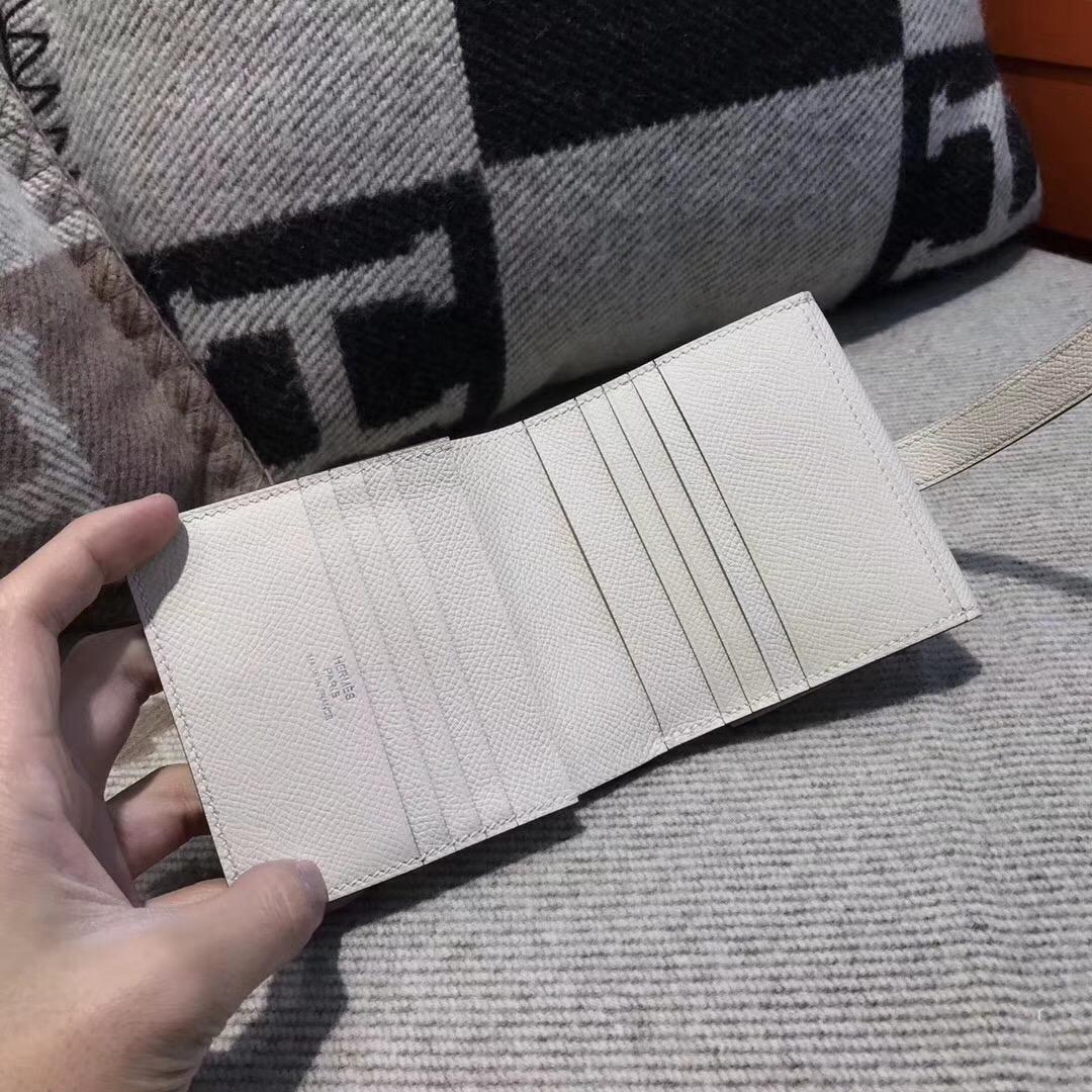 愛馬仕Hermes Epsom皮 三折款零用錢包 CK10 Craie 奶昔白