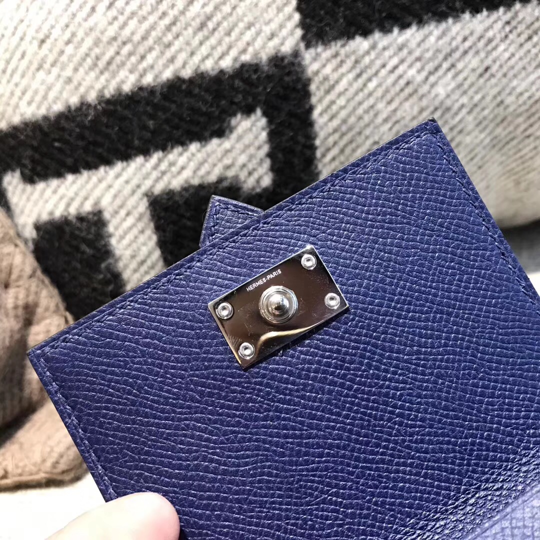 香港油尖旺區旺角 Hermes Wallet Epsom皮 三折款零用錢包 Blue saphir宝石蓝