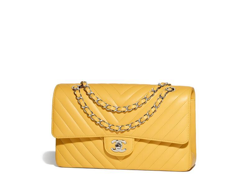 香奈兒chane.2018春夏系列手袋 經典口蓋包 Classic handbag yellow黃色