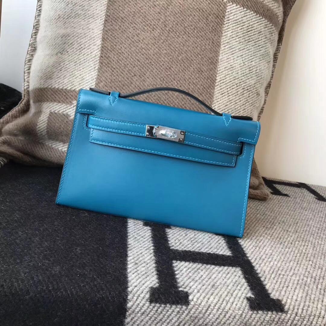 Hermes凱莉手包 mini kelly box 7W伊兹密尔蓝 Blue Lzmir 银扣 金扣金屬 手拿包
