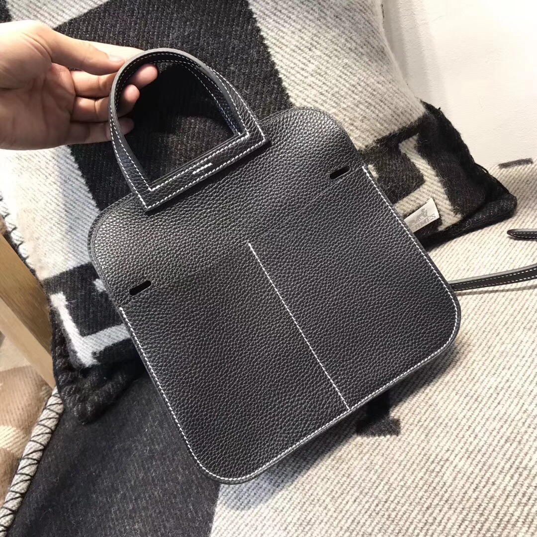 愛馬仕 Hermes 迷妳包 Halzan mini bag togo 荔枝紋niro ck89 黑色