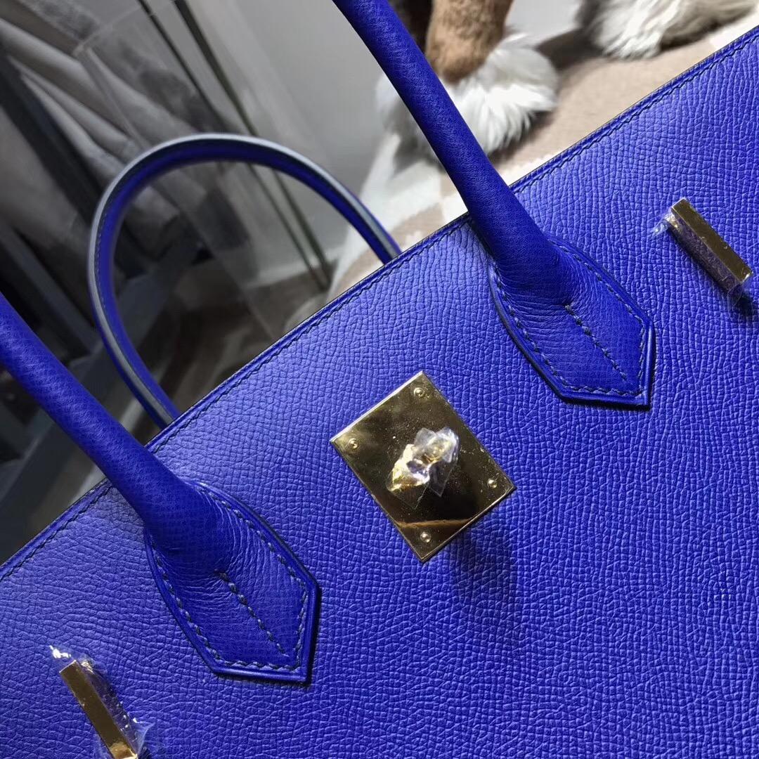 hermes 鉑金包Birkin包 30CM epsom电光蓝 7t blue electric 百搭的宝蓝色金扣