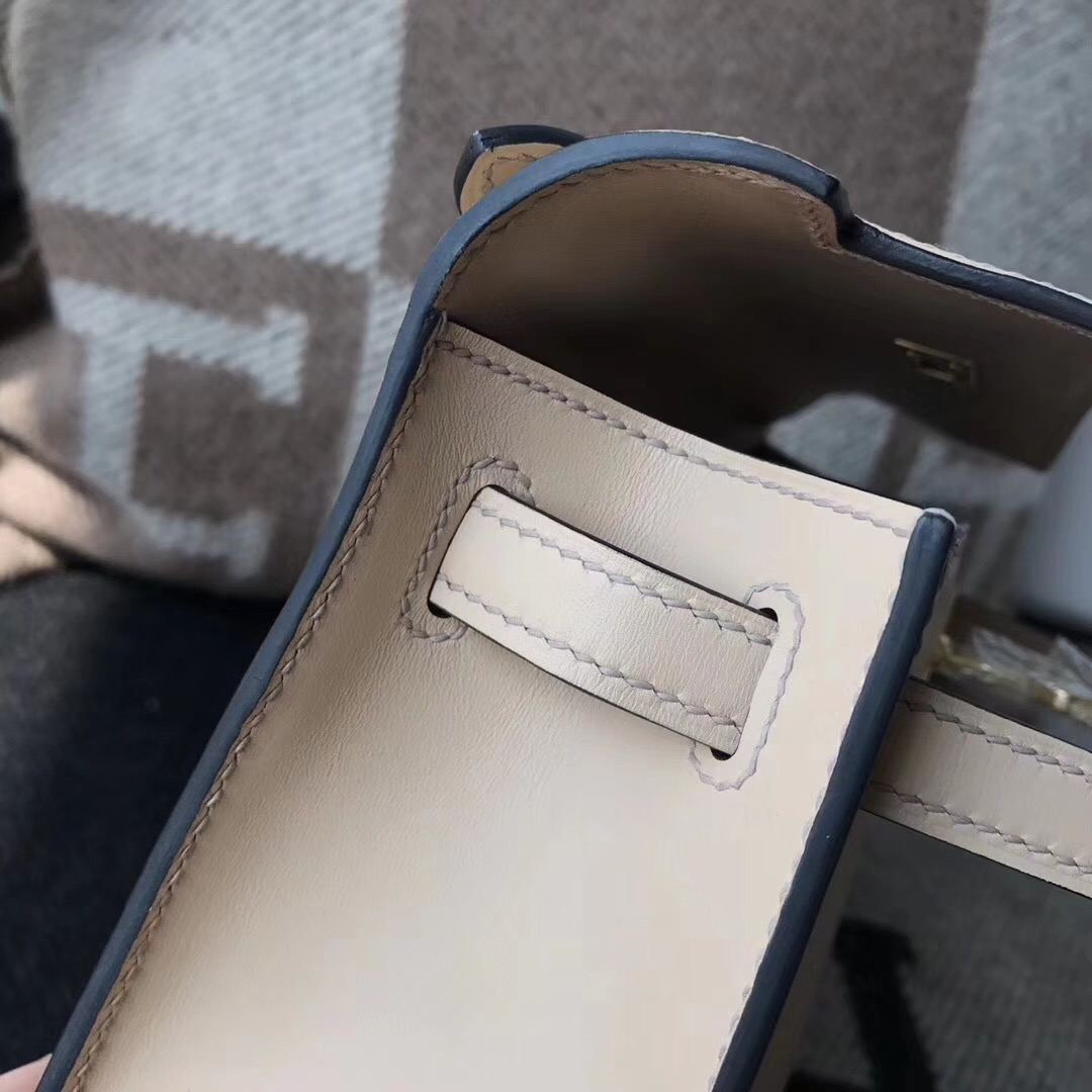 愛馬仕Hermes mini kelly box tadelakt 1f鉆石灰銀扣 稀有顏色