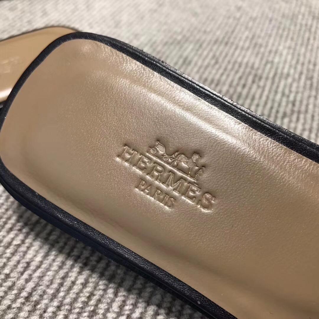 愛馬仕Hermes 黑色拖鞋豬鼻子平紋進口小羊皮35~39尺碼