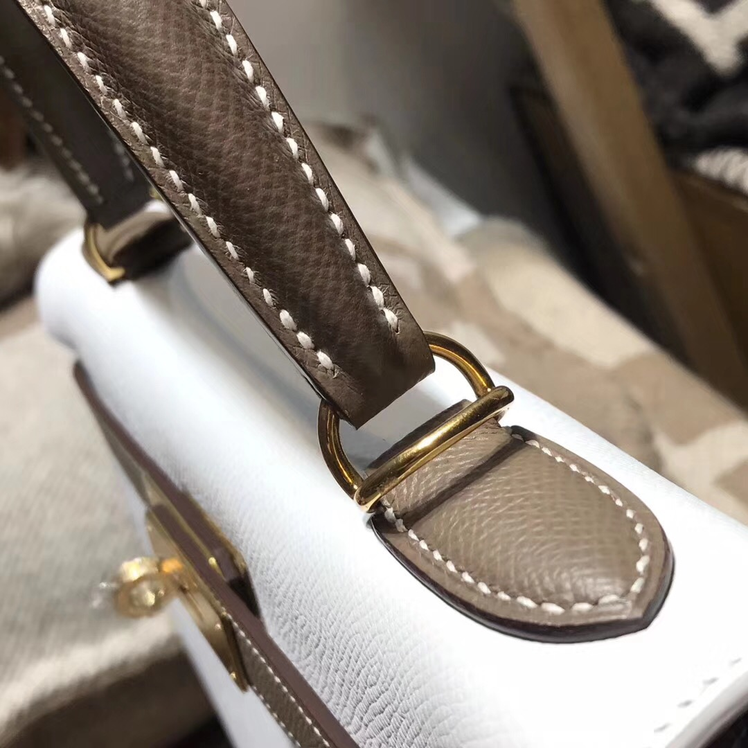Hermes凱莉包kelly 28 epsom CK01 Blanc純白/CK18 Etoupe大象灰金扣