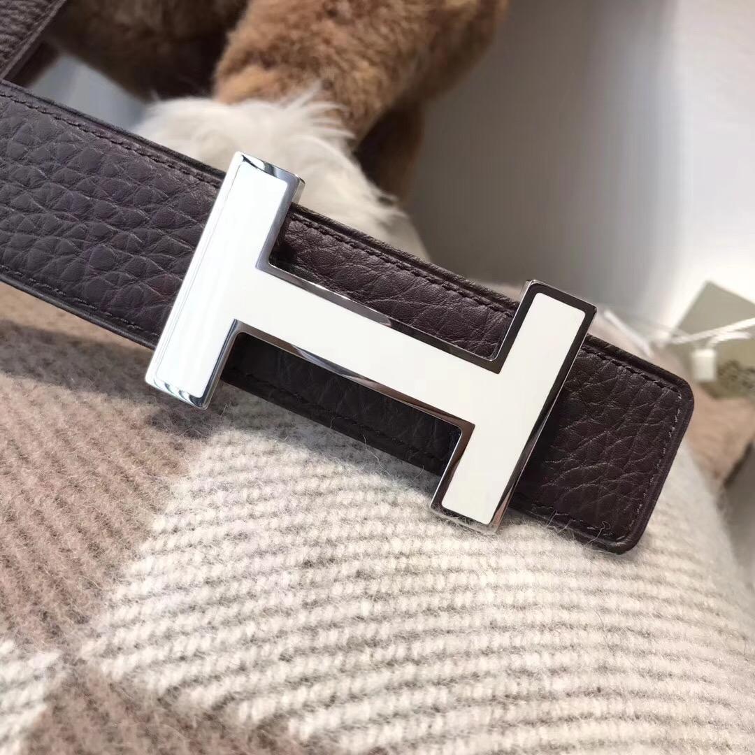 Hermes皮帶H扣 togo荔枝紋咖啡色腰帶 75~115歐碼