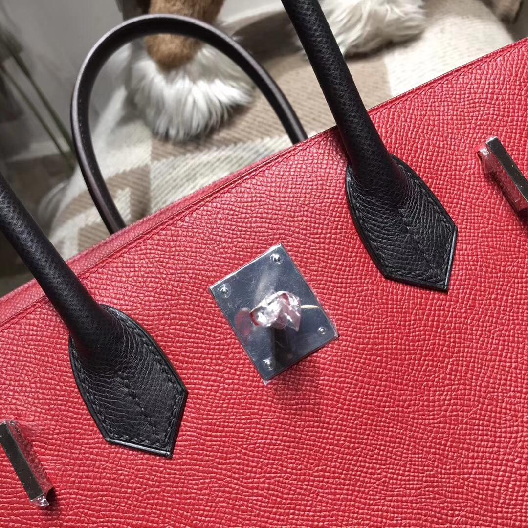 Hermes birkin 30cm epsom q5 rouge casaque國旗紅配黑色noir ck89银扣
