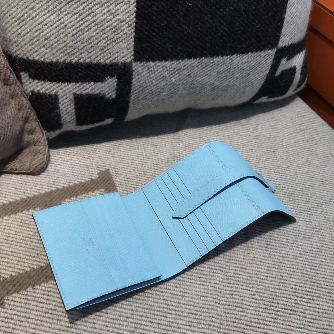 香港油尖旺區尖沙咀 Hermes Wallet Epsom皮 三折款零用錢包 3P 馬卡龍藍