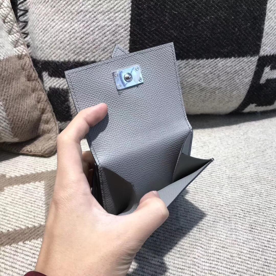香港香港島中西區中环 愛馬仕Hermes Wallet Epsom皮 三折款零用錢包 4Z海鸥灰